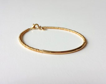Gold bracelet, sparkly bracelet, golden bracelet, seed bead bracelet, minimalist, minimalist jewelry, noodle, bar bracelet,beaded bracelet
