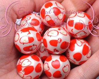 20mm Red Apple Fruit Print Beads, Red, Green,  Summer Picnic Theme, Chunky Bubblegum Beads, Gumball Beads, Printed Beads, 10pcs