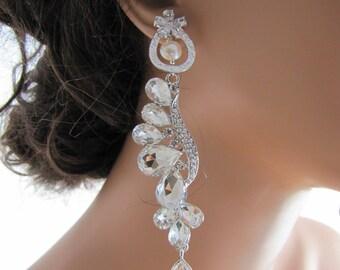 Long dangle bridal statement earrings, Teardrop rhinestones chandelier earrings, pearl flower cz sparkling earrings   - Daisy