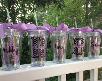 3 Chevron Personalized Monogrammed Bride and Bridesmaid Acrylic Double-Wall BPA-free Tumblers