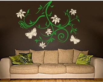 Sky Bough vines and butterflies wall decal, sticker, mural, vinyl wall art