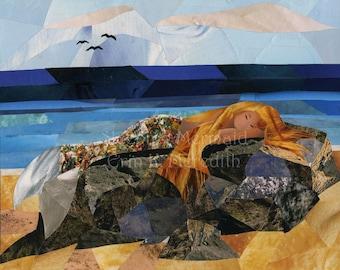 Sleeping Mermaid art collage 8 x 10 print