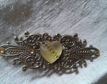 "brooch ""print and yellow Rhinestone Heart"""