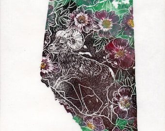 Alberta, Big Horn Sheep and Wild Rose Linocut - Canadian Provinces & Territories Map and Symbols Print Collection - Alberta