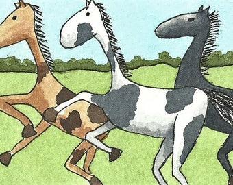 ACEO. Artist trading card. Original artwork. 'Wild Horses'