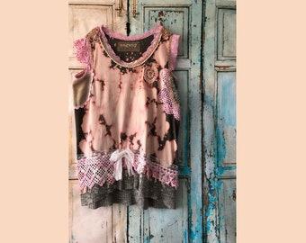 Upcycled Clothing | Handmade | Wearable Art | tunic | Crochet | Romantic | Unique Eco Fashion | Handmade Clothes |