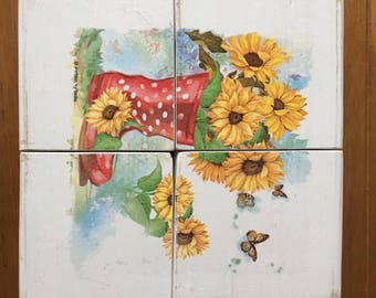 Sunflower Chunky Solid Wooden Coasters