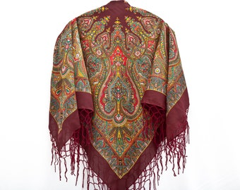 Burgundy Floral Shawl with Tassels Russian Shawl Boho Vintage Ukrainian Shawl Chale Russe Babushka Shawl Square Scarf Mother Day Gift (070)