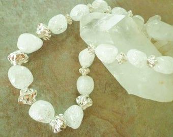 Iceflake Quartz Gemstone Necklace, Sterling Silver Beads Necklace, Quartz Nuggets, Beaded Necklace