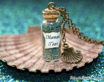 Mermaid Tears Necklace, a Sea Shell Charm, Pirates of the Caribbean Inspired, Mermaid Tears Bottle Necklace, Mermaid Cosplay, Mermaid Bound