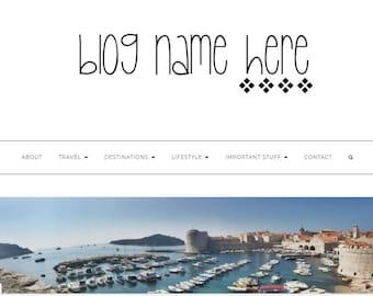 Pre-made Blog Header- logo/ website header / business logo/ -quirky, unique, diamonds, pretty, thin writing
