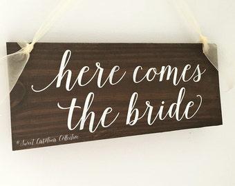 Here Comes the Bride Ring Bearer Sign | Ring Bearer Signs | Flower Girl Sign | Ring Bearer Rustic Wedding Decor - WS-170