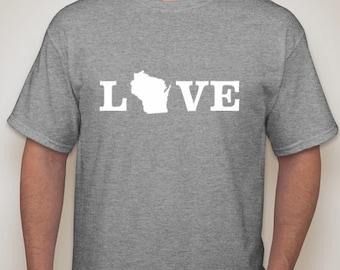 Wisconsin Love t shirt, WI short, Wisconsin t shirt, Wisconsin