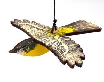 Eastern Yellow Robin Mobile, Hand Printed Wooden Lino Printed Hanging Bird, Australian Native Bird,