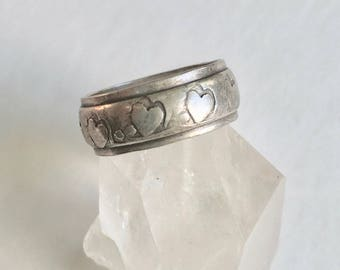 vintage heart band, sterling, size 5 and 1/2