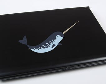 Narwhal Printed Laptop Decal   narwhal sticker narwhal decal cute narwhal whale macbook decal iphone decal narwhal art narwhal decor