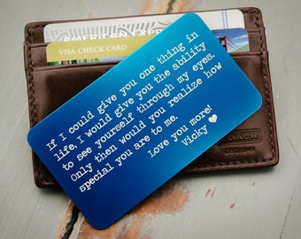 Personalized Wallet Card, Metal Wallet Card, Engraved Wallet Card, Custom Wallet Insert, Military Deployment Gift, Wedding Day Gift for Him