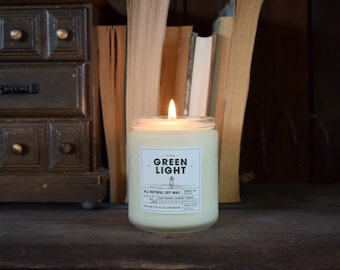 The Green Light Literary Candle - Book Candle // All Natural Soy Wax, Handpoured 8oz