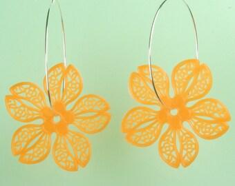 Vintage Orange Lucite Flower Hoop Earrings