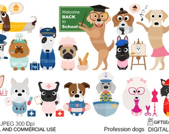 Profession dogs clip art for Personal and Commercial use - INSTANT DOWNLOAD
