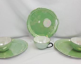 Rudolf Wachter Green Lusterware Tea Cup~Crumpet~Sandwich Saucer Germany (1 set)