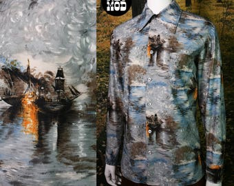 Ships in the Night Vintage 70s Men's Blue Nautical Boat Scene Button Down Shirt