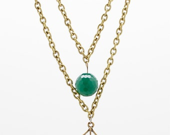 Repurposed Vintage Spider Web Necklace with a Faceted Chrysoprase Bead