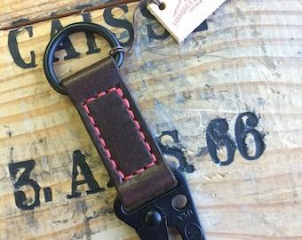 Handmade Military Style HK Clip Leather Keychain