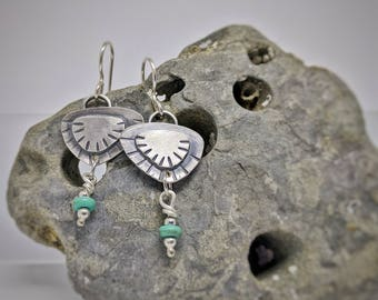 Turquoise Shell Earrings // Handmade // Sterling Silver // One of a Kind
