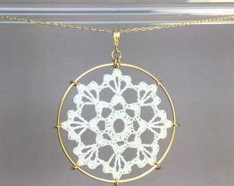 Scallops doily necklace, white silk thread, 14K gold-filled