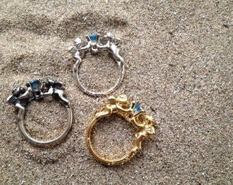 rings with angels and Blue Topaz