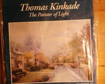 Thomas Kinkade Lamplight Brooke 50837 Counted Cross Stitch, with printed background,  Kit NIP 16 x 20