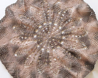 "Hand Dyed Doily - Crochet Doilies Brown Tan Cream Beige Coffee Chocolate Ecru Neutral 17"" Upcycled Home Table Top Decor"