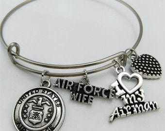 Air Force Wife bracelet, Air Force Wife, Air Force, Air Force wife gift, bangle bracelet, charm bracelet, I love the Air Force,