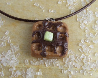 Waffle Necklace, Breakfast Necklace, Syrup Necklace, Breakfast Jewelry, Waffle Jewelry, Food Jewelry, Breakfast Waffle Necklace, Waffle