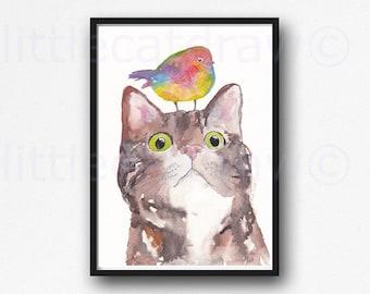 Cat Print Tabby Cat Colorful Bird Watercolor Painting Print Tabby Cat Art Print Cat Lover Gift Wall Art Cat Wall Decor Home Decor