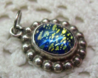 Vintage Sterling Silver Blue Harlequin Cabochon Charm/Pendant...Dichroic Glass...Foiled Opal Glass