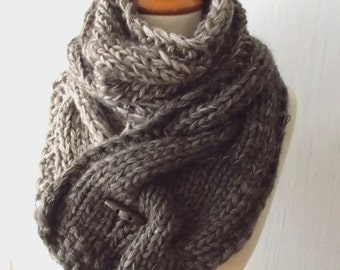 Chunky Scarf Big Cabled Camel Brown Cowl Hand Knitted