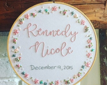CUSTOM MADE . hand embroidered birth announcement . personalized nursery decor . baby keepsake . hand embroidered name birthdate and wreath