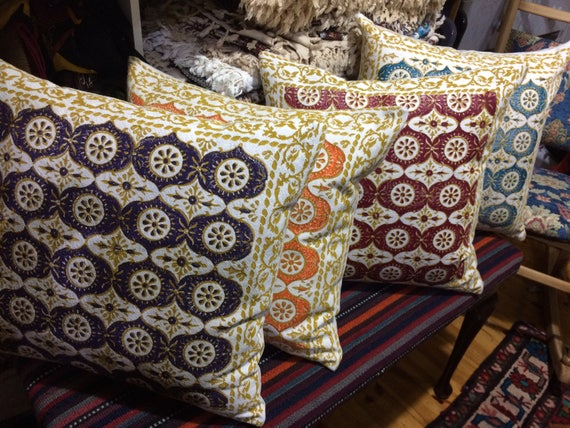 Decorative  modern block printed pillow , traditional design in four colours , quality handprinted Cushion, Cotton and linen pillow, pillow