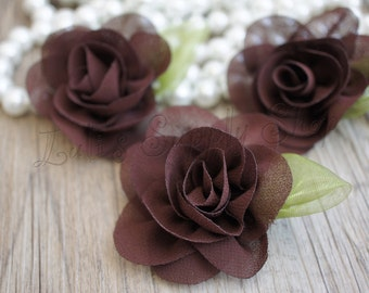 """Petite Brown Chiffon Rose with Leaf - 2.2"""" Layered small fabric flower - Headband Supply - Brown Chiffon Roses - Fabric Flowers"""