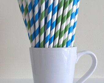 Blue and Green Striped Paper Straws Party Supplies Party Decor Bar Cart Cake Pop Sticks Mason Jar Straws Graduation