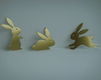 Set of 3 bunnies paper stickers or sticker for scrapbooking and card
