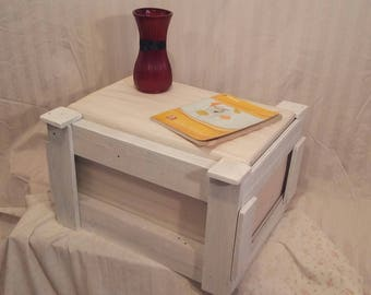 White Country-Inspired Ottoman/sidetable