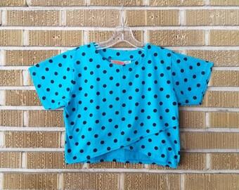 80s, 90s bright blue polka dot asymmetrical crop top -small-