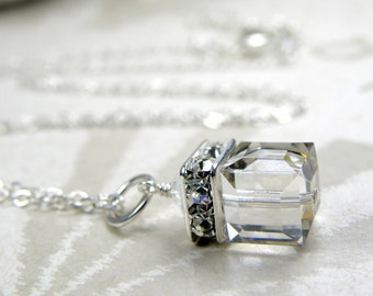 Silver Cube Necklace, Grey Bridal Necklace, Swarovski Crystal Cube Pendant, Gray Bridesmaid Jewelry, Modern Handmade, Sterling Silver