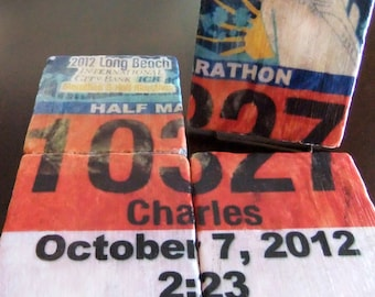 Personalized Race Bib Coasters/Tiles - Set of 4. Tumbled Marble 4in. x 4in. - Running Gift - Perfect for Runners - Marathon
