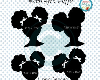 Afro Puffs Clip Art | African American Girl Silhouette | Natural Hair | Afro Puffs Hair Style Clip Art | Designer Resources Clip Art | PNG