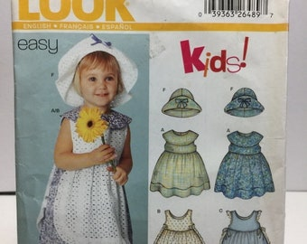 ON SALE Simplicity New look 6255 Toddler Dress, Pinafore, Bloomers, Hat Sewing Pattern Size 0-L Brim Hat, Sleeveless Dress,Empire Waist,Summ