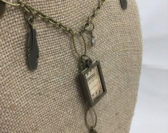 Y drop necklace, y shaped necklace, y necklace, steampunk necklace, steampunk jewelry, charm necklace, charm necklace chain, feather charm